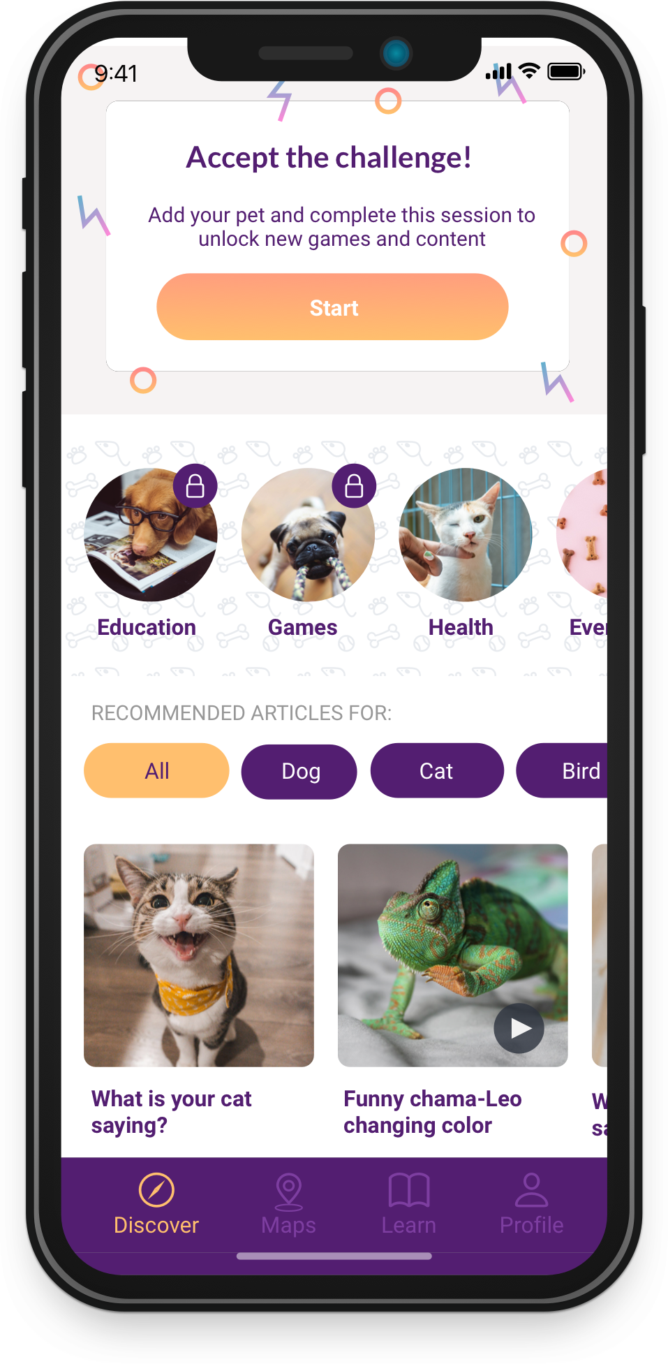 mockup discover screen aroundpets